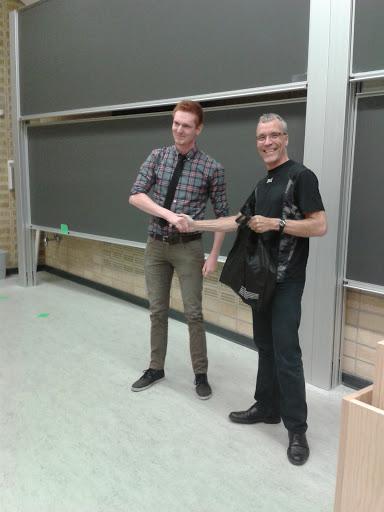 Mathiasbh receiving his present from Klaus